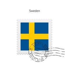 Sweden flag postage stamp vector