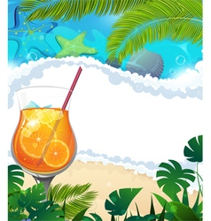 Cocktail on tropical background vector