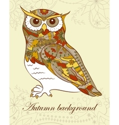 Autumn background with owl vector