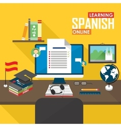 E-learning spanish language vector