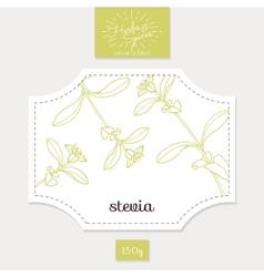 Product sticker with hand drawn stevia leaves vector image