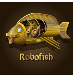 Steampunk robot fish vector image
