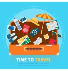Open baggage with travel icons and objects vector