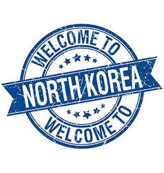 Welcome to north korea blue round ribbon stamp vector