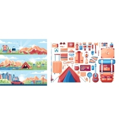 Set of day landscape mountains sunrise travel vector