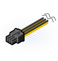 Isometric 6 pin pcie connector vector