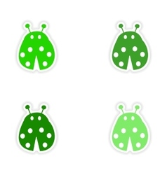 assembly realistic sticker design on paper ladybug vector image vector image