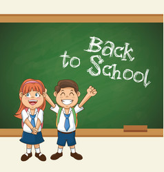 Back to school student smiling happy with uniform vector