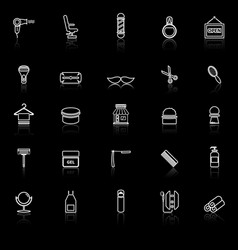 barber line icons with reflect on black background vector image vector image