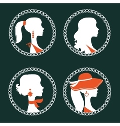 Beautiful elegant women silhouettes set vector image vector image