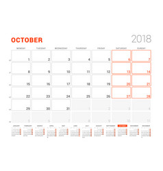 Calendar template for 2018 year october business vector