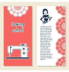 Cards template for sewing school tailoring shop vector