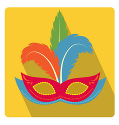 Carnival mask with feathers icon flat style with vector