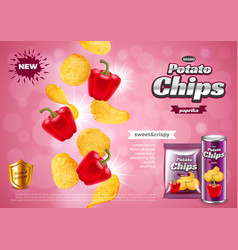 Chips ads 3d and packaging vector