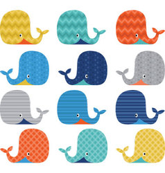 Colorful cute whale collections vector