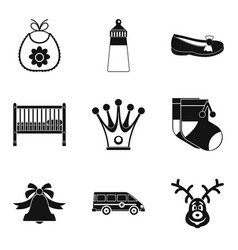 crib icons set simple style vector image vector image