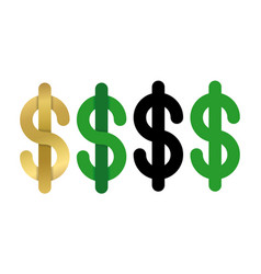 Dollars sign icon usd currency symbol isolated vector