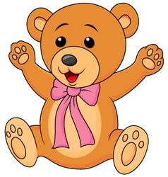 Funny baby bear cartoon waving vector image