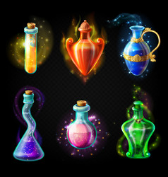 Glass bottles with a magical potion vector