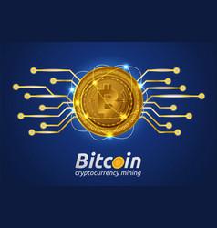 Golden bitcoin in shining light effect on blue vector