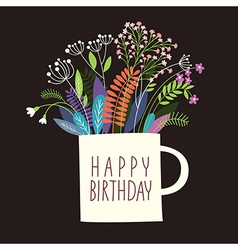 Greetings card Happy Birthday vector image vector image