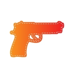 Gun sign Orange applique isolated vector image vector image