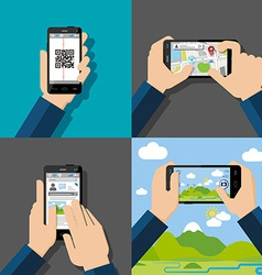 Hands holding touchscreen smartphones with vector image