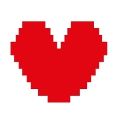heart red pixel love icon vector image vector image