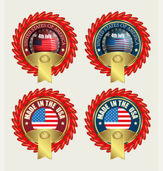 Icon with red ribbons and us flag vector