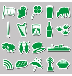 Ireland country theme symbols green stickers set vector