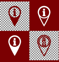 Map pointer with information sign bordo vector