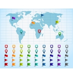 Map pointers on world map vector
