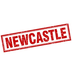 Newcastle red square grunge stamp on white vector
