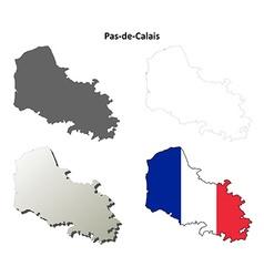 Pas-de-calais nord-pas-de-calais outline map set vector