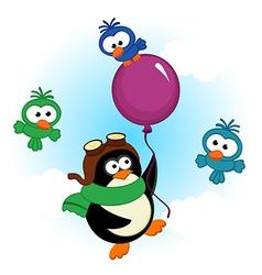 Penguin on balloon vector