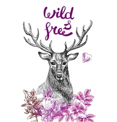 poster with deer vector image vector image