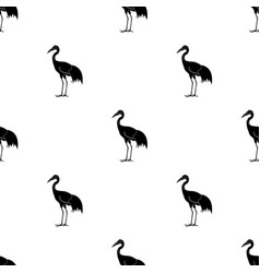 red-crowned crane icon in black style isolated on vector image
