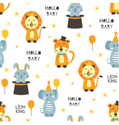 seamless pattern with circus animals vector image