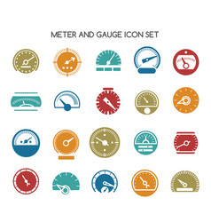 speed gauge icons circular barometer or vector image vector image