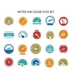 Speed gauge icons circular barometer or vector