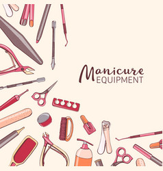 square background with manicure equipment hand vector image vector image