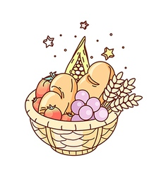 The fruits on the basket vector image vector image
