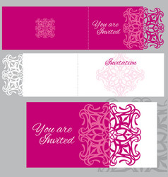 Wedding invitation greeting card with laser vector