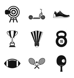 winner cup icons set simple style vector image