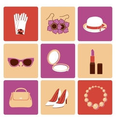 Woman accessories flat icon set vector