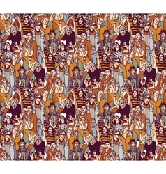 Woman crowd big group color seamless pattern vector