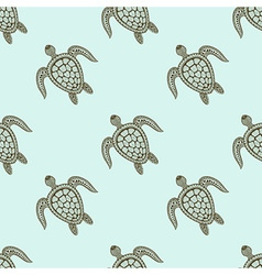 Zentangle tribal stylized turtle seamless pattern vector