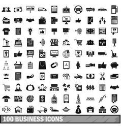 100 business icons set simple style vector