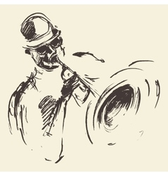Jazz poster man playing saxophone drawn sketch vector