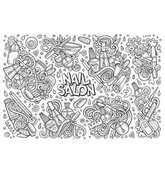 cartoon set of nail salon theme doodles vector image